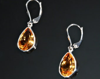 Sterling Silver and Faceted Citrine Teardrop Earrings, Citrine Earrings, Sterling Silver Earring, November Birthstone Earrings, Gift for her