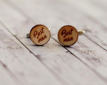 Wedding cuff links, Wood cuff links, Best man cuff links, Personalized cuff links, Best man gift, Custom wood cuff links