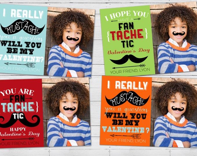 Mustache Valentine cards printable - Mustache Valentines Digital Printable-