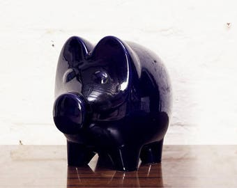 Large Scheurich Blue Piggy Bank Ceramic Mid Century West Germany Form 792