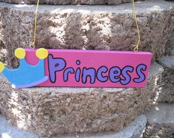 Princess Wall Hanging Sign Plaque Turquoise & Pink