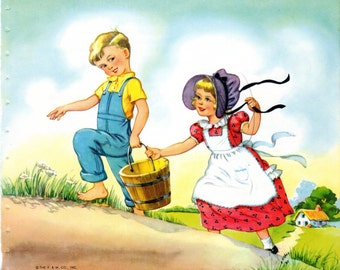 Jack and Jill Mother Goose Nursery Rhymes Illustration by Eulalie