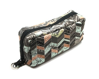Essential Oil Case Holds 10 Bottles Essential Oil Bag Gray Peach and Light Blue Patterned Chevron