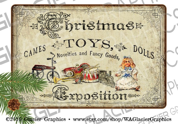 Vintage Country Christmas Toy Shop Signs Digital Download Country