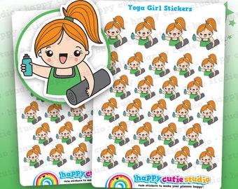 27 Cute Yoga/Pilates/Exercise/Gym Girl Planner Stickers, Filofax, Erin Condren, Happy Planner,  Kawaii, Cute Sticker, UK