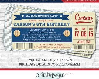 Vintage Baseball Birthday Invitation - Baseball Ticket Invitation - Baseball Invitation - Download & Personalize in Adobe Reader at home