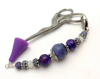 Purple Scissor Fob, Sewing Accessories, Scissor Charm Gift
