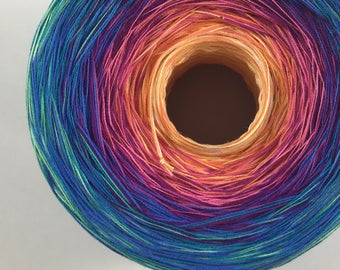 Colour Change Gradient Yarn - be happy- Moca Cotton Yarn - 12 colors - fingering weight yarn - pure cotton