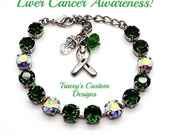 Stunning LIVER CANCER AWARENESS Swarovski Elements Bracelet