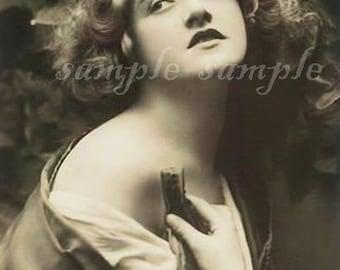 VINTAGE photo instant DIGITAL DOWNLOAD Beautiful Woman Gypsy Bohemian Boho Princess Art Print Journaling Altered Art