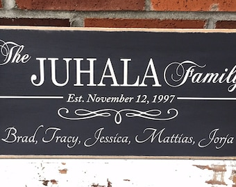 """Rustic Wood Sign - Family Names - Established Date - First Names - 8""""x16"""""""