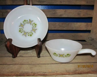 2 Vintage Fire King Anchor Hocking Green Meadow Pattern Bowls Soup Bowl with Handle
