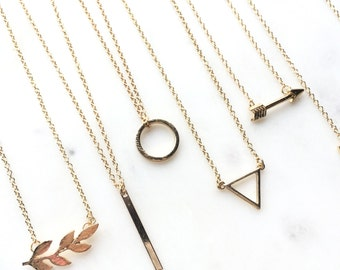 Dainty Necklace, Layering Necklace, Bar Circle Triangle Leaf Necklace, Minimalist Jewelry, Layered Gold Delicate Simple Necklace AAFWAP