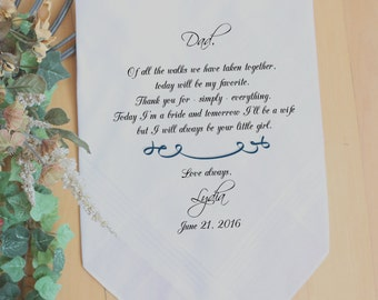 Father of the Bride handkerchief, PRINTED, Wedding favors, Of all the walk we have taken, your LITTLE GIRL,Personalized. MS1FCAC[35]