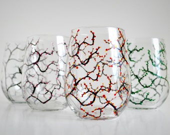 Four Seasons Stemless Wine Glasses - Set of 4 Glasses in Winter, Spring, Summer and Fall
