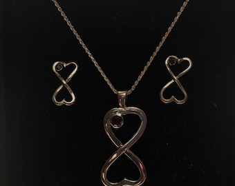 Sterling Silver Red Garnet Infinity Heart Necklace and Earring Set