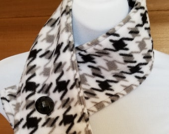 Black, Gray White Houndstooth Neck warmer, scarflette with vintage black button