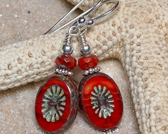 Sterling Silver and Czech Glass Earrings