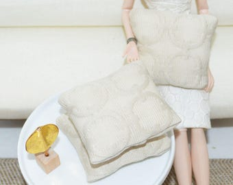 1/6 scale pillows_mid-century_Blythe_Momoko_Pullip_BJD_Fashion Royalty_doll home decor_playscale dollhouse_barbie size_one sixth scale.
