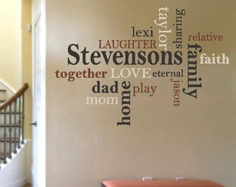 VINYL wall art, family name collage, family word collage, family word cloud, family name decal, living room wall decal, family sign