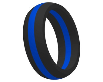 Men's Thin Blue Line Silicone Wedding Band Ring Flexible Medical Grade Athletic Active Wear Gift for Him/Husband Mans Jewelry FREE SHIPPING