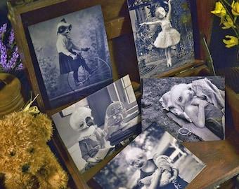 Set of 5 original Postcards - Mini Print Set birds rabbit creatures fantasy old portraits dolls