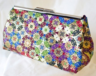 Clutch Bag - Purse - Hand Bag - Accessory Bag - Prom Bag - Handmade bag featuring gorgeous Indian-style fabric with metallic accents