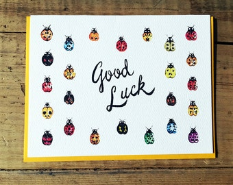 Good Luck Card / Good Luck / Well Wishes / Best Wishes / Good Luck Ladybugs / 24 Distinct Ladybugs for Good Luck! / Cards for all Occasion
