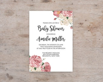 Baby Shower Invitation Printable, Baby Shower Invitation Shabby Chic, Baby shower Invitation Girl, Floral Baby shower invitation, template