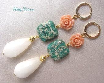 Jade earrings, roses earrings, jasper earrings, teardrop earrings, coral rose earrings, roses, jade, jasper, teardrops