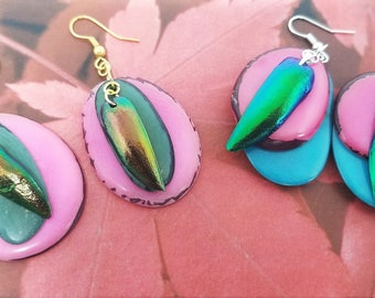 Colorful Bohemian Dangle Drop Earrings – Sustainable Vegetable Ivory Earrings– Teal and Pink Tagua – Beetle Earrings - Valentines Day Gift