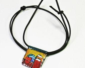 Surreal Art Piece Enamel Pendant Necklace