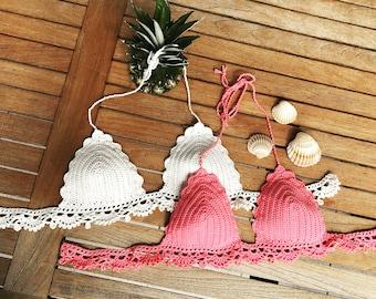 Crochet bikini top pink / Festival top / Handmade / Cotton