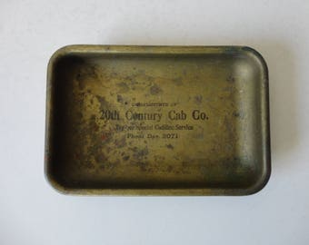 VINTAGE metal ASHTRAY with advertising - 20th century cab co. - try our special cadillac service