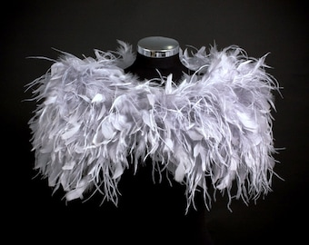 Stunning Silver Grey Ostrich and ruffle feather Shrug Wrap Cape ~ FLAPPER