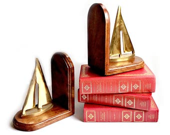 Brass Sailboat Bookends, Vintage Brass Book Ends, Sailboat Bookends, Wood and Brass Bookends, Vintage Brass Horse Heads, Vintage LIbrary
