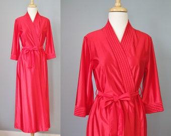 Red Satin Robe / Vtg 70s / Classics of California Red Satin Robe