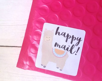 Small business stickers - Llama Happy Mail - Packaging stickers - Thank you for supporting small business - Small biz - shop small - alpaca