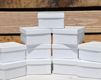 20 Pack White Gloss 3.5x3.5x2 Deep Jewelry Favor Boxes Square with Cotton Fill Size 34