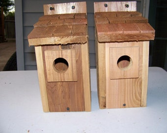 2- Bluebird bird houses bird nest with cedar shake roof