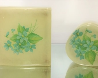 Lefton Geniune Alibaster Hand Painted Floral Trinket Box Set