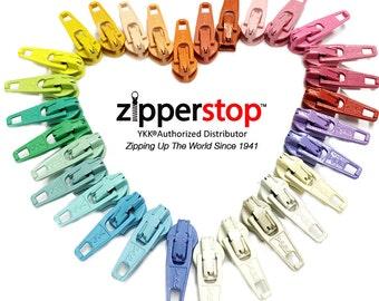 VINTAGE-Zipper Repair Kit Solution #2.5  coil YKK® sliders use in sewing or jewelry-Choice of brights,neutral,dark or lite-ZipperStop  YKK®