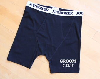 Groom's Black Boxer Shorts, Joe Boxer BLACK Fitted, Wedding Date personalized,Gift for Groom, Honeymoon gift, wedding Underwear, embroidered