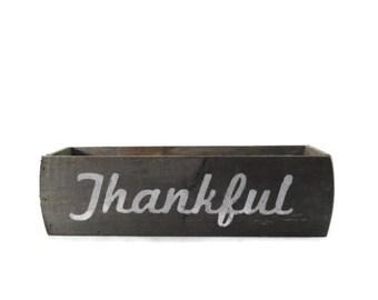 Rustic Thanksgiving Centerpiece Box - Reclaimed Wood - Thankful - Grateful - Grace