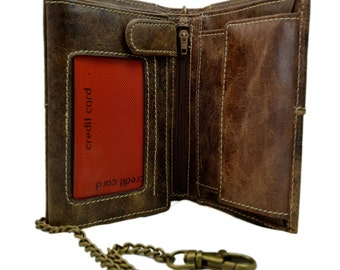 Leather chain wallet dark brown mens leather wallet new collection mate leather wallet leather card holder men leather chain wallet