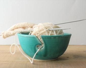 ceramic yarn bowl, simply elegant crochet bowl,  pottery wool bowl, wheelthrown yarn bowl, knitter's bowl, unique yarn bowl, ready to ship