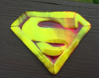 PAPERWEIGHT - Fused Glass Superman Paperweight