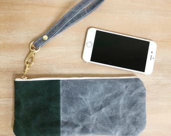 Small Green and Grey Waxed Canvas Zippered  Pouch with Wrist Strap, Wristlet, Clutch, Zippered Pouch