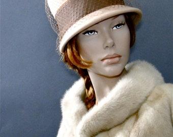 1960's Mod Hat Women's Vintage Tall Crown Bucket Style - Creamy Peach Color Felt