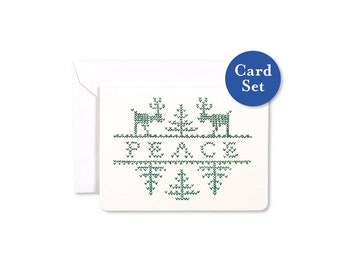 Stitched Peace Mini Card Set of 8